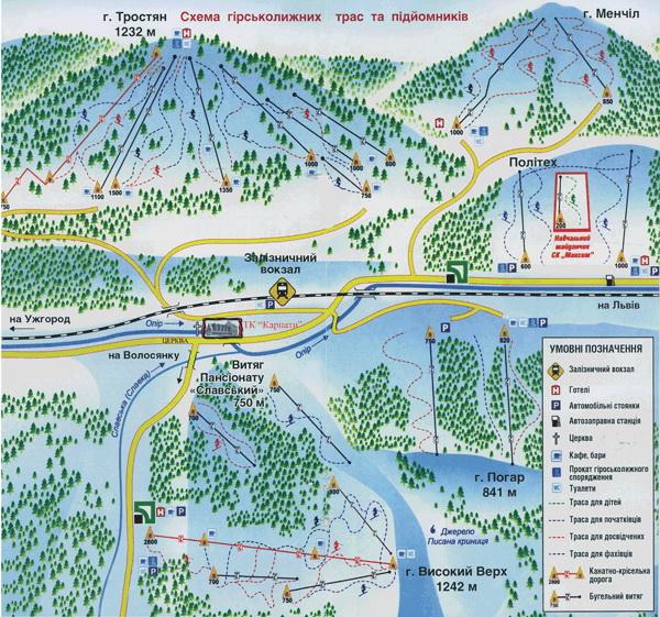 Карта трасс Славское Карпаты