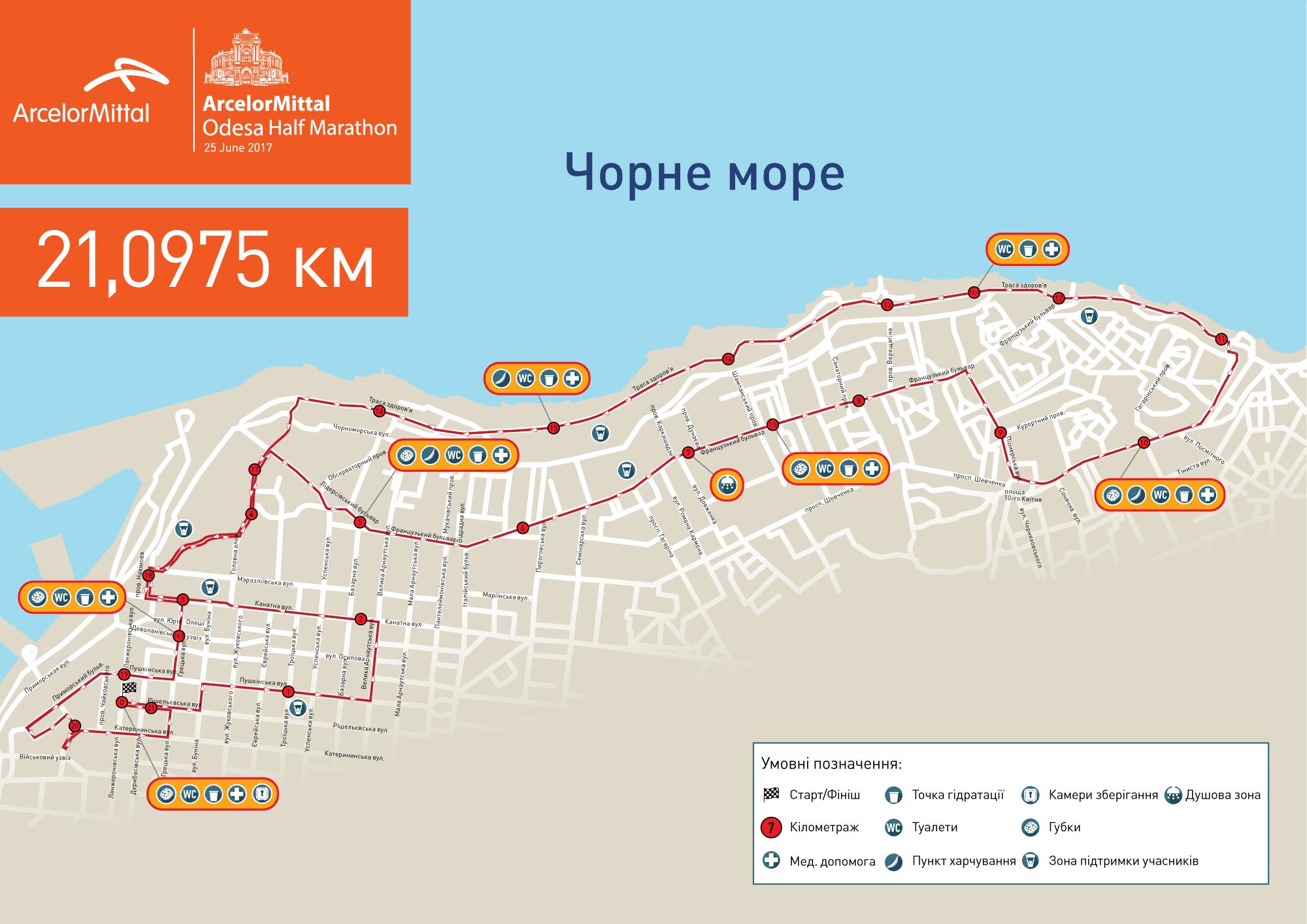 Одесский полумарафон карта